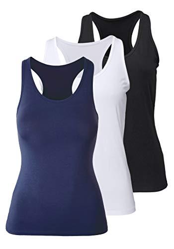 Mujer Camiseta de Tirantes Básica Deporte de Gimnasio Sueltas Formación Ejecutar Camiseta sin Mangas, XXL, Negro + Blanco + Azul