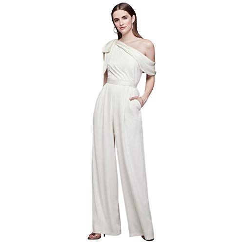 One-Shoulder Crepe Wedding Jumpsuit with Bow Style DS870059, Ivory, 4