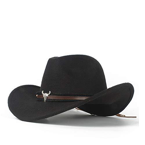 LTH-GD Cappellino Invernale e Cappello Cappello da Cowboy da Uomo in Lana Occidentale con Cappello da Sombrero con Cinturino in Pelle (Color : Black, Size : 56-58)