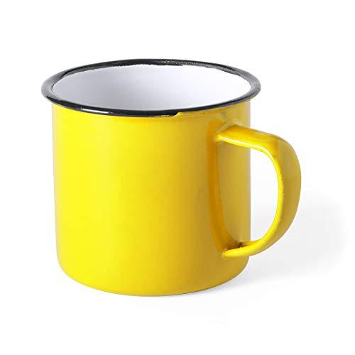 FUN FAN LINE - Set de tazas metálicas vintage o retro presentada en caja individual (Amarillo, 4 tazas)
