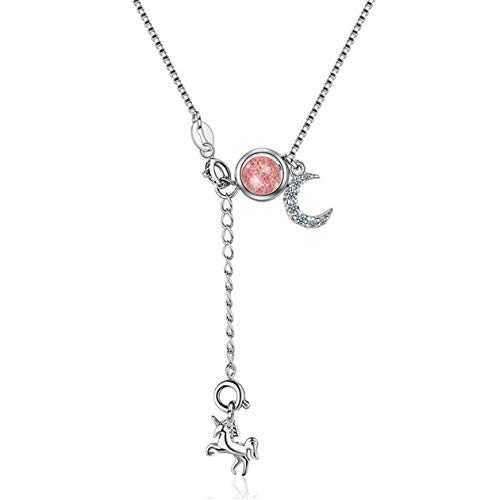 Yikoly Women's / Girls' Necklace Silver 925 Glitter Zirconia Moon Mini Horse Fashion Y Chain with Pendant Charm Necklace Adjustable