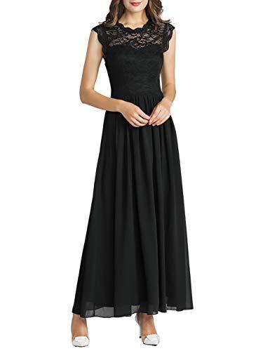 MuaDress 6056 Donna Elegante Vestiti da Matrimonio Cerimonia Pizzo Abito in Chiffon Lunghi Vestito Formale Banchetto Sera Maxi Dress Pizzo Nero XXL