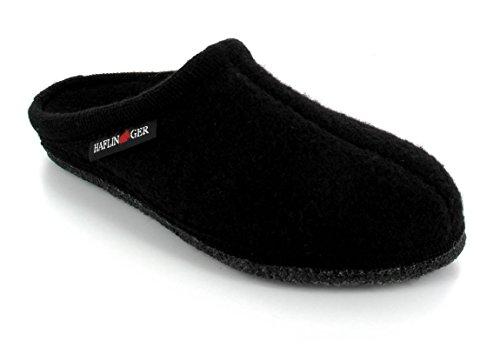 HAFLINGER Boiled Wool Soft Sole Slipper   Alaska, Black, 47
