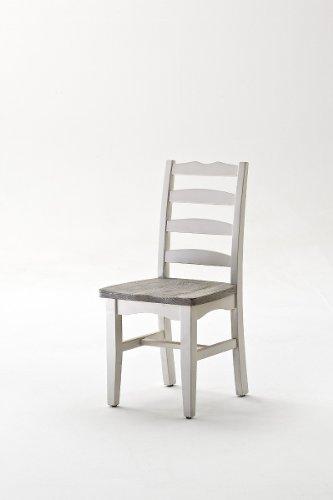 Dreams4Home Stuhl massiv ' Juno ', in antik weiß , Esszimmer, Massivholz,Küchenstuhl,Esszimmerstuhl
