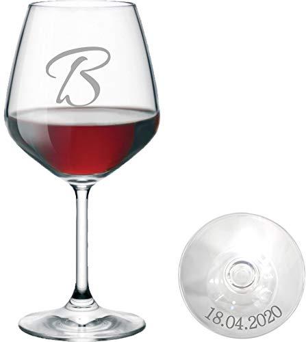 Bicchiere da Vino Personalizzato - Calice da Vino Rosso Inciso - Personalizzabile con Nome, Testo, Design e Caratteri Diversi