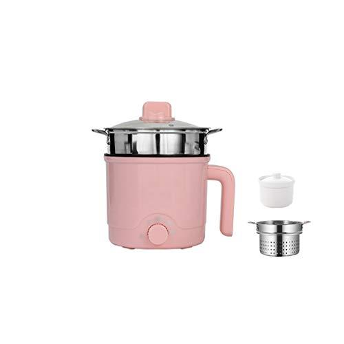 XIAOQIAO Padella elettrica Antiaderente con Coperchio e Maniglie for Il Trasporto, Multi-Funzione elettrica Fornello Pentola, Elettrico Hot Pot, Rapid Noodles Fornello (Color : Pink C)