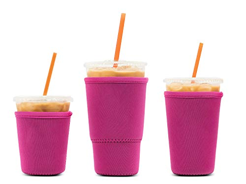 3 Pack Reusable Iced Coffee Sleeves - LOVAC Insulator Sleeve for Cold Beverages, Neoprene Cup Holder...