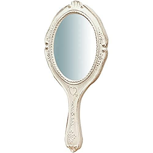 Biscottini Specchio Specchiera a mano stile Shabby in legno con finitura bianca anticata misure L14xPR1,5xH28 cm produzione Artigianato Fiorentino Made in Italy
