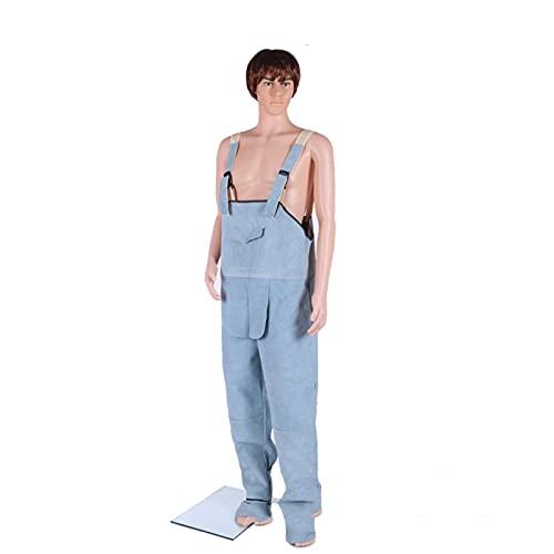 DQWGSS Pantalones protectores de soldadura de cuero de vaca, ropa de soldador de cuero duradero para soldadura de trabajo, resistencia a altas temperaturas, utilizado para fundición y escoria, XL