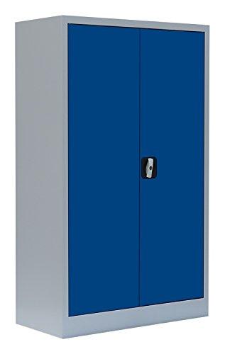 Flügeltürenschrank Schrank Stahl Stahlblech Lagerschrank Aktenschrank 2 Fachböden 530291 Grau/Blau 1200 x 800 x 380 mm kompl. montiert und verschweißt