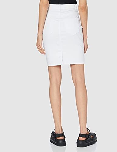 Vero Moda VMHOT Nine HW DNM Pencil Skirt GA Noos Falda, Blanco (Bright White Bright White), M para Mujer