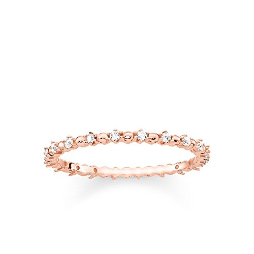 THOMAS SABO Damen Ring Dots mit weißen Steinen 925er Sterlingsilber; 750er Roségold Vergoldung TR2153-416-14
