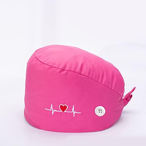 Sumedtec - Gorro Quirofano para Pelo Largo Corto, Gorros Ajustables Cap Hat Turbante Sombrero Trabajo (Modelo rosa)
