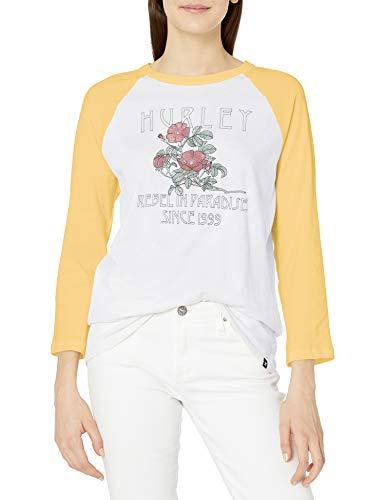 Hurley W Rebel Flowers 3/4 Raglan tee Camiseta De Manga Larga, Mujer, Pale Yellow, XS