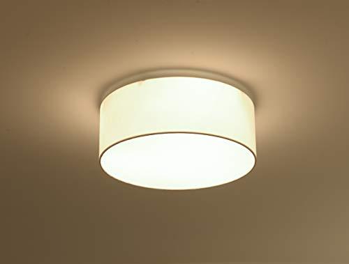 Runde Deckenleuchte Stoffleuchte mit 3-flammig, Deckenlampe mit E27-Fassungen für Wohnzimmer,Schlafzimmer,Esszimmer, weiß, Ø 40cm