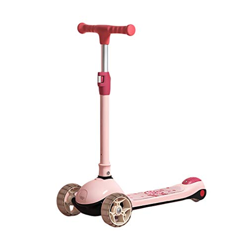 Dongxiao Patinete Patada Plegable Scooter Muchachas y Niños Edad 2-14 Altura Ajustable Lean to Steer PU Flashing Wheels Scooter (Color : Pink)