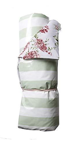 A.U MAISON Picknickdecke Sophia Roses 140x180cm Mint weiß mit Streifen
