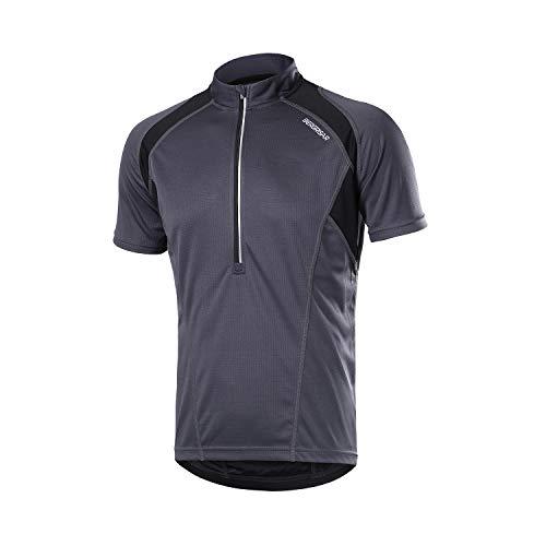 BERGRISAR Herren Fahrradtrikot mit halbem Reißverschluss, kurze Ärmel, Fahrrad-Shirts mit Reißverschlusstasche, schnelltrocknend, atmungsaktiv BG060 - Grau - X-Groß