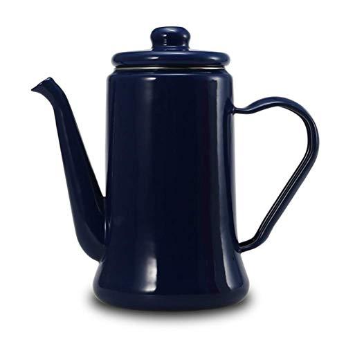 Hervidor Tetera, Cafetera, Verter sobre el café caldera y la caldera de té de esmalte Pot cocina de inducción, universal for el hogar, oficina, azul WTZ012