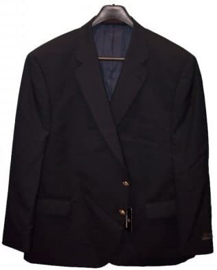 Jean-Paul Germain Big and Tall 100% Wool Classic Black Blazer with Vent