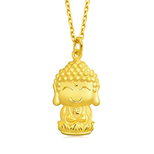Chow Sang Sang 999.9 24K Solid Gold Price-by-Weight 2.35g Gold Buddha Pendant for Men and Women 89237P [Not Include the Necklace]