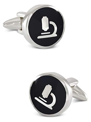 ZAUNICK Microscope Cufflinks in Sterling Silver and Enamel Handcrafted Black Color