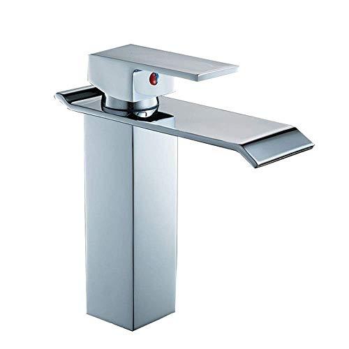 Wasserhahn Widemouth Wasserfall Wasserhahn Badezimmer Waschbecken Wasserhahn Heiß und kalt gemischte Quartett Toilette Wasserhahn Praktisch (Farbe: Silber, Größe: 18,7 * 17,5 * 4,5 cm) Küche Badezimme
