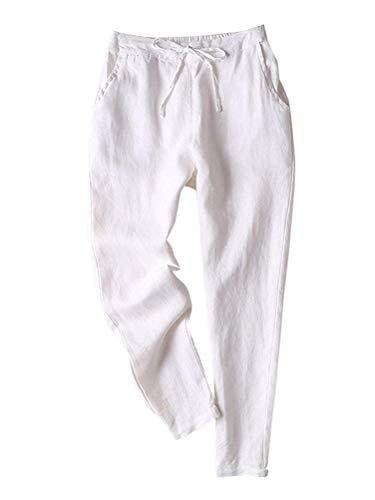 ORANDESIGNE Donna Estivi Pantaloni di Lino con Fascia Elastica Pantaloni di Svago Accogliente Tinta Unita Pantalone Bianco XXL