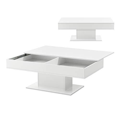[en.casa] Mesa de Centro Lünen 40 x 110 x 60 cm Mesa Baja Mesa de Salón Auxiliar Mesa de Café o Té Blanco Alto Brillo