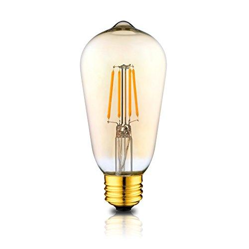 Dimmable LED Edison Light Bulbs: 4 Watt, 2200K Warm Lightbulbs - Amber Gold Glass - 40 Watt Equivalent - E26 Base - Decorative Vintage Light Bulb Set - 4 Pack