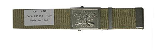 SBB Cintura militare fibbia Esercito Italiano Verde OD Kaki Grigio made in Italy (140 cm, Kaki)
