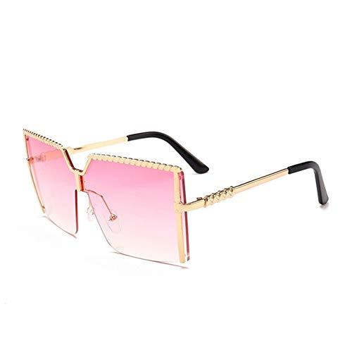 Yi-xir diseño Clasico Gafas de Sol de Gran tamaño Foursquare Women Luxury Brand Vintage Sun Gafas Moda (Lenses Color : Double Pink)