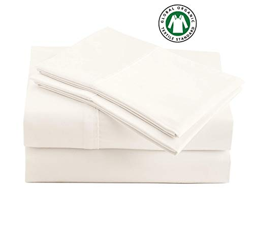 "100% Organic Cotton Coconut Milk King-Sheets Set, 4-Piece Pure Organic Cotton Long Staple Percale Weave Ultra Soft Best Bedding Sheets for Bed, Breathable, GOTS Certified, Fits Mattress Upto 17"" Deep"