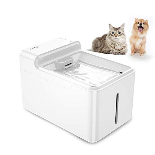 LAIKA Bebedero 2.7L para Gatos y Perros, Fuente de Agua Automática para Mascotas, Dispensador Sielncioso de 29db, con Luz UV, 2 Filtros de Carbón Activo