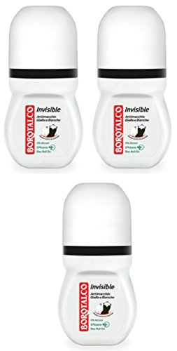 3x BOROTALCO ROBERTS deo roll-on Invisible 50ml deoroller Anti Flecken Spots 48h