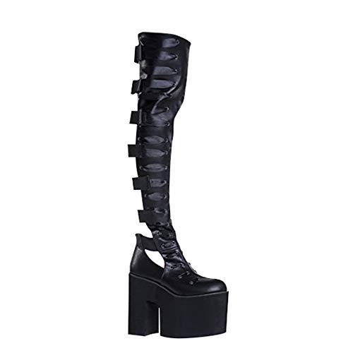 YRU Battle Elastic Strappy Chunky Platform Knee High Boot Black