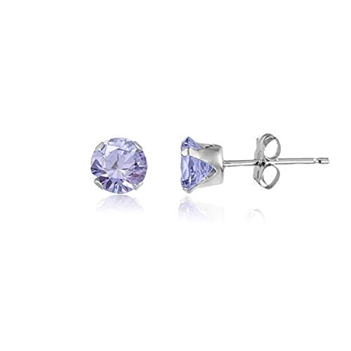 5MM Classic Brilliant Round Cut CZ Sterling Silver Stud Earrings/Ear Studs for Women/Teenage/Girls - 925 Sterling Silver - Round Silver Earrings - LAVENDER. 5-LAVE