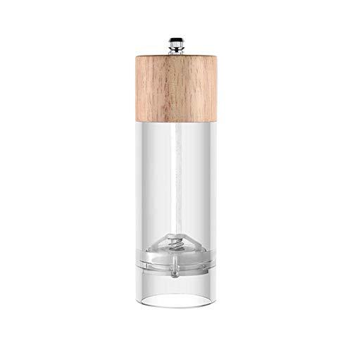 Molinillo de sal y pimienta de madera, molinillo de sal acrílico ajustable, molinillo de especias con cuerpo de cristal, molinillo de pimienta portátil, agitador de pimienta y sal de mesa