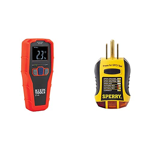 Klein Tools ET140 Pinless Moisture Meter for Non-Destructive Moisture Detection in Drywall & Sperry Instruments GFI6302 GFCI Outlet/Receptacle Tester, Standard 120V AC Outlets, Yellow & Black