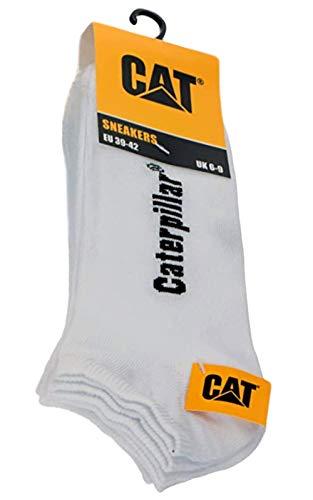 Caterpillar 3 paires de chaussettes courtes pour homme et femme - Blanc ou noir - AV775 - Chaussettes de sport - Taille 39 42 43 46 - Blanc - Taille 39-42 EU