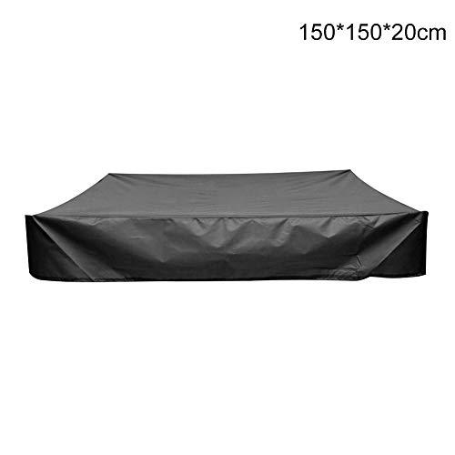 Cubierta para caja de arena para exteriores, jardín, canopy, cuadrada, con cordón, protección contra el polvo, resistente al agua, caja de arena para piscina