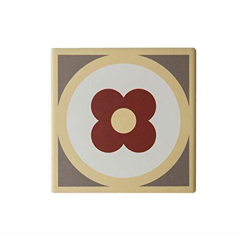 NO BRAND Coaster cerámica Teja con Corcho cuadradas Florales Base Beb