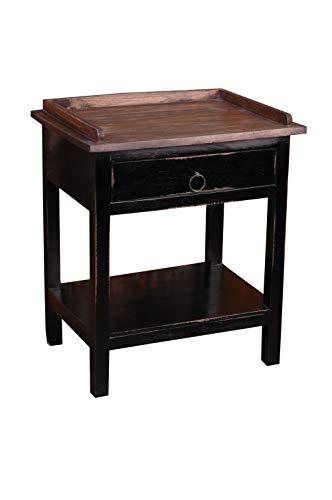Sunset Trading Shabby Chic Cottage Tisch, Mahagoni, Antik-Schwarz mit Raftwood Top und Schublade, Small Side