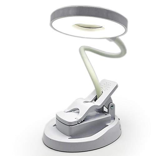 KIWITECH Mini Led Schreibtischlampe, Tischlampe mit Clip Touch-Dimmer nud Memory Funktion, 360° Flexibel Schwanenhals, USB Wiederaufladbar