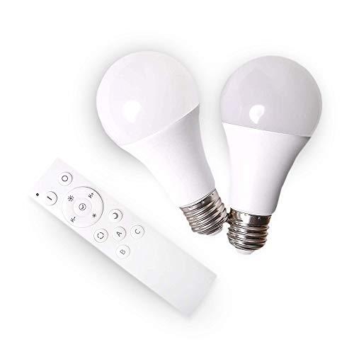 SHD Juego de 2 bombillas LED E27 con mando a distancia, bombilla con luz de color que cambia de 2700-5000 K, función nocturna, 9 W, 200-800 lúmenes, intensidad regulable