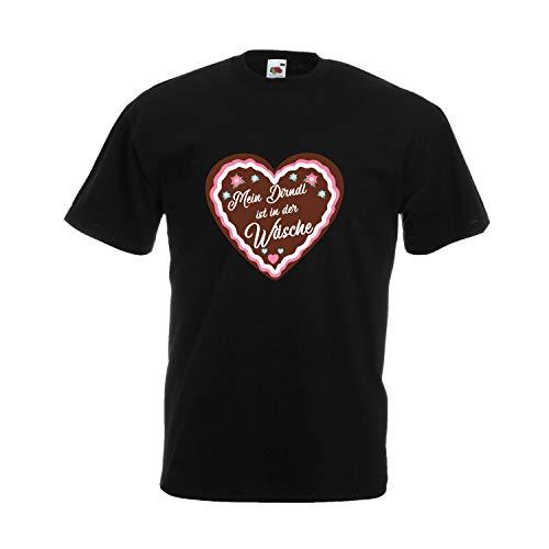 Oktoberfest T-Shirt (Unisex) für Damen mit Motiv -Mein Dirndl ist in der Wäsche- Frauen Tracht Schwarz XXXXXL