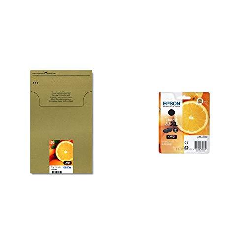 Epson C13T33374510 - Cartucho de tinta 33 multipack de cinco Easymail + C13T33514022-33XL - Cartucho de tinta compatible con la impresora Epson XP series XL Black
