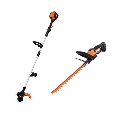 WORX Outdoor Tool Package with 13 Inch 56 Volt Max Lithium-Ion Cordless Grass String Trimmer/Edger and 20 Volt Power Share Cordless Battery 22 Inch Hedge Trimmer, Orange