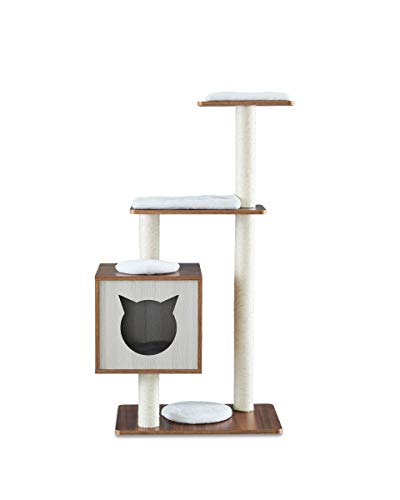 Sweet Barks Elegant Wooden Modern Cat Tree Cat Condo MultiLevel Towers Cat Activity Tower with Scratching Posts with Removable and Washable Mats Base Tower