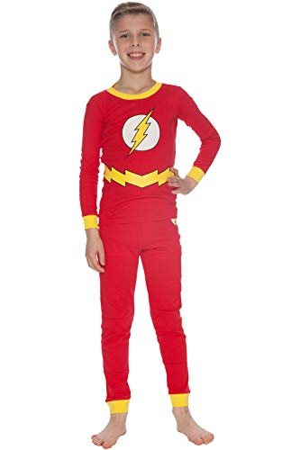 DC Comics Boys' Big Flash Costume Pajama Set, red, 10